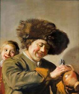 Twee lachende jongens met tinnen kan