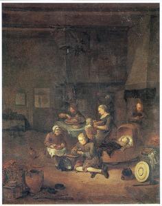 Interieur met boerenfamilie aan de maaltijd