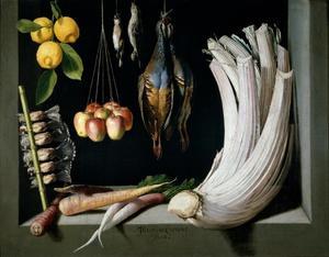 Stilleven met wild, fruit en groenten