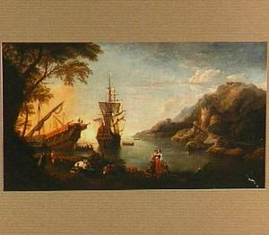 Italianiserend kustlandschap met schepen voor anker in een baai