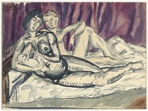 Naakte man en zogende vrouw op een divan