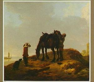 Landschap met pakpaard, een man en een jongen; op de achtergrond een rivier