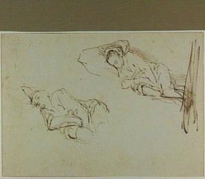 Twee studies van een slapende vrouw op een kussen