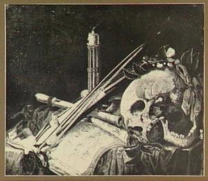 Vanitasstilleven met schedel, muziekboek en muziekinstrumenten
