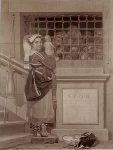 Vrouw die haar baby toont aan gevangenen