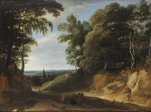 Heuvelachtig boslandschap met figuren op een holle weg