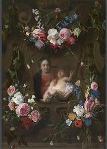 Cartouche versierd met bloemguirlandes met een voorstelling van de Maagd Maria en het Christuskind