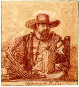 Portret van Cornelis Claesz. Anslo (c. 1592 - 1646), gezeten aan een tafel