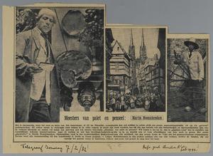 Martin Monnickendam in zijn atelier, schilderij stadsgezicht en Martin Monnickendam met een zaag