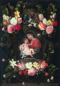 Cartouche versierd met bloemen met een voorstelling van de Maagd met het Christuskind