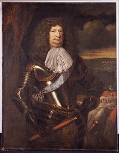 Portret van keurvorst Friedrich Wilhelm von Brandenburg (1620-1688), met op de achtergrond de slag bij Fehrbellin (18 juni 1675)