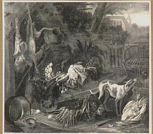 Boerenerf met groente op een kruiwagen; rechts een hond