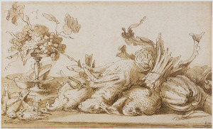 Stilleven met gevogelte, konijn, groente en tazza met druiven