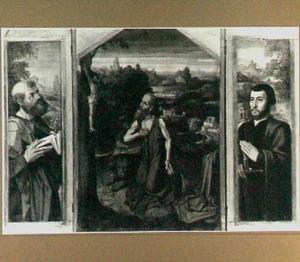 De H. Petrus (links), de boetvaardige Hieronymus in de wildernis (midden), portret van de stichter (mogelijk Geronimo Diodati) als de H. Paulus (rechts)