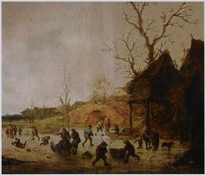 Winterlandschap met schaatsende en sleeënde figuren