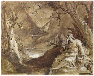 De profeet Elia door raven gevoed aan de oevers van de beek Kerit  (1 Koningen 17:1-6)