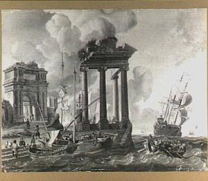 Gezicht op een mediterrane haven met een tempelruïne