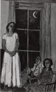 Portret van een vrouw en twee kinderen