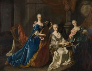Groepsportret van de zusters Elisabeth Auguste (1721-1794), Maria Anna (1722-1790) en Maria Franziska (1724-1794) van de Paltz-Sulzbach