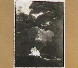 Lezende monnik in rotsachtig landschap