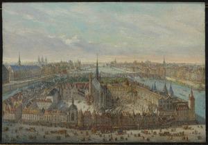 Gezicht op het Ile de la Cité te Parijs met de Sainte-Chapelle