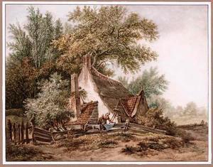 Boerderij in boomrijk landschap met wasdrogende boerin