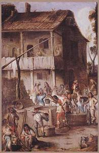 Rustende soldaten bij een waterput voor een herberg