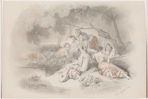 Zes jonge vrouwen rustend onder een boom aan de waterkant
