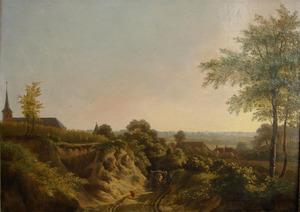 Holle weg in heuvelachtig landschap bij het dorp Beek