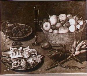 Stilleven met vruchten, aritisjokken en twee glazen