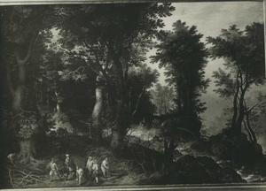 Boslandschap met het offer van Isaac (Genesis 22)