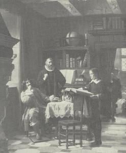 Bisschop Brochmand laat de jonge Peter Schumacher een proeve van zijn vorderingen tonen aan koning Frederik III van Denemarken