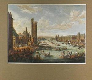 Gezicht op de Seine in Parijs tijdens een regatta (rechts het Louvre en links de Tour de Nesle)