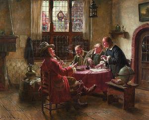 Vier mannen in een oud-Hollands interieur