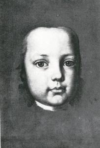 Studiekop van een kind voor een groepsportret van de familie Esterhazy