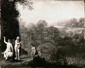 Landschap met badende vrouwen