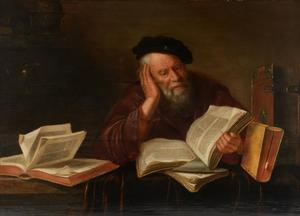 Oude geleerde omgeven door boeken