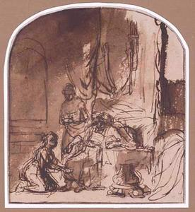 Batseba knielt voor David en vraagt hem Salomo tot koning uit te roepen (1 Koningen 1)