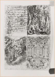 Schetsboekblaadje met drie voorstellingen