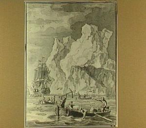 Zeilschip en roeiboten nabij een ijsberg op de Zuidpool