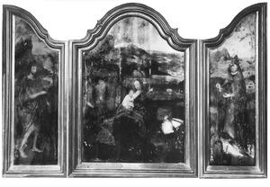 De H. Johannes de Doper (links), de rust op de vlucht naar Egypte (midden), de H. Cornelius (rechts)