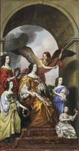 Deel van de triomfstoet, Amalia met haar dochters als toeschouwers van de triomf van Frederik Hendrik