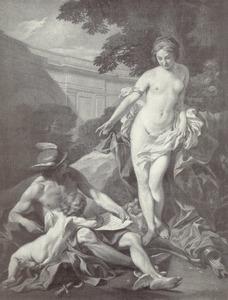 Venus, Cupido en Mercurius een (liefdes)brief schrijvend