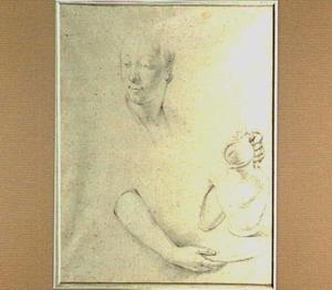 Studie van hoofd en armen van een vrouw met een schenkkan