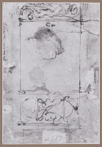 Wanddecoratie, kop van een man en studie van een been