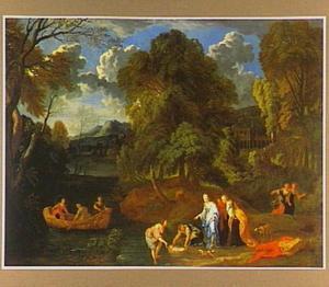 Boslandschap met het vinden van Mozes  (Exodus 2:1-10)