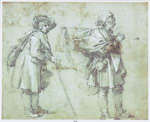 Twee staande mannen met stok