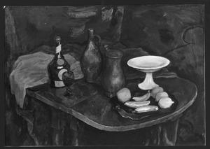 Stilleven met wit schaaltje, vruchten en fles