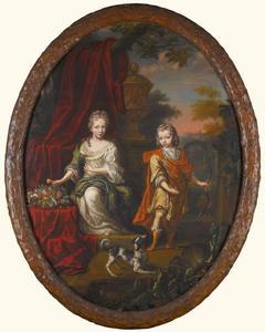 Portret van een onbekend meisje en jongen