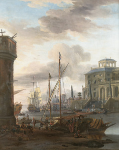 Zuidelijk havengezicht met schepen, op de voorgrond sjouwers